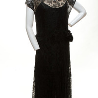"1920's Black Lace Flapper Dress with Side Detail   28"" Waist"