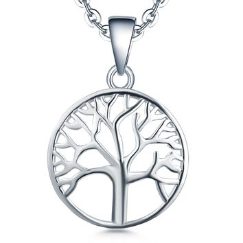 Tree of life Pendant Necklace-YL 925 Sterling Silver Tree Necklace Jewelry-Womens Girls Christmas Tree Charm Necklace-Mothers Day Family Tree of Life Necklace-White Gold Giving Money Mens Boys Gifts