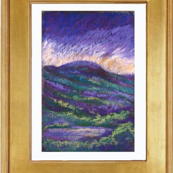 Impressionist Mountain Abstract, Pastel painting, Stormy skies in Green and Purples, Mountain scene in pastel by Marion Hedger