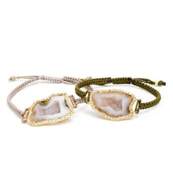 KIMBERLY MCDONALD | 18K Gold, Geode and Diamond Macramé Double Bracele | Browns fashion & designer clothes & clothing
