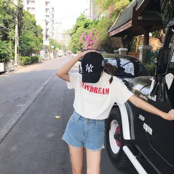 DAYDREAM fashion tumblr t shirt women red letter printed cotton shirts graphic tee hipster t-shirts unisex topS