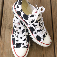 Cow Print Converse Custom Hand Painted Shoes