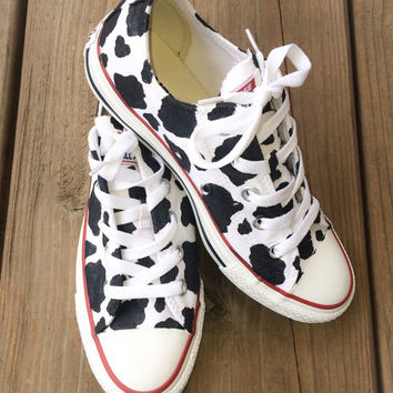 042d564b3e7 Cow Print Converse Custom Hand Painted from Intellexual Design