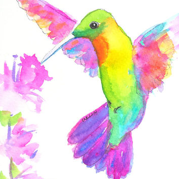 Colorful Hummingbird, Original Watercolor, 5x7 painting, Pink flowers, Garden bird, Flying, Wings, Nature, Rainbow Colors