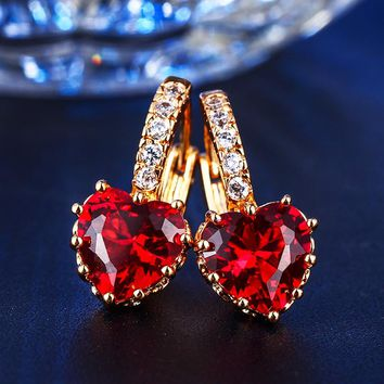 Fashion retro red AAA cubic zirconia heart-shaped luxury banquet jewelry decoration rose gold color ladies jewelry MSE014