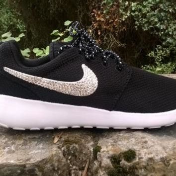 custom nike roshe run sneakers athletic sport shoes womens black/white color blinged w