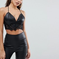 Parallel Lines Bralette In Faux Leather With Lace Trim at asos.com