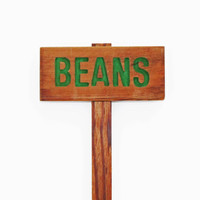 Beans Garden Marker, BEANS Garden Sign, Painted & Oil Sealed Cedar Wood: Hand Routed Sign