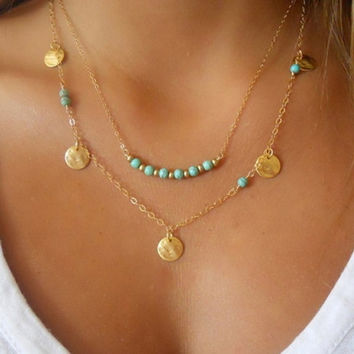 New Women's Ladies Fashion Necklace Womens Turquoise Engagement Necklace Elegant Jewelry Pendant Chain Chunky Statement Bib Necklace = 1958482692