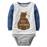 Carter's Mock-Layered Bear Bodysuit - Baby Boy, Size: