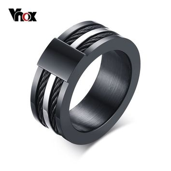 Vnox Men's Punk Rock Ring Stainless Steel Black Wire Rings For Male Party Jewelry