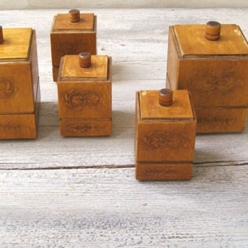 Mid Century Soviet Wood Kitchen Canister Container Set of 5, Retro Storage Jars Kitchenware Decor Rustic Ornate Wooden Square Shelf Canister