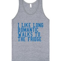 i like long romatic walks to the fridge-Unisex Athletic Grey Tank
