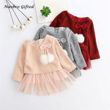 Toddler Baby Kid Girls Long Sleeve Knitted Bow Newborn Tutu Princess Dress 0-24M XL50