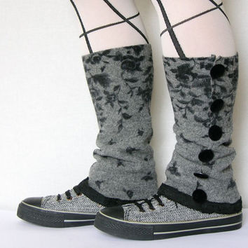 leg warmers shoe covers spats recycled wool grey black eco friendly recycled upcycled wool women for her