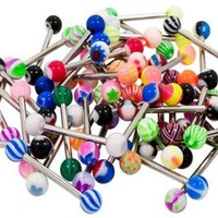 BodyJ4You Tongue Rings Lot of 50 Pieces Barbells Body Piercing Jewelry 14G
