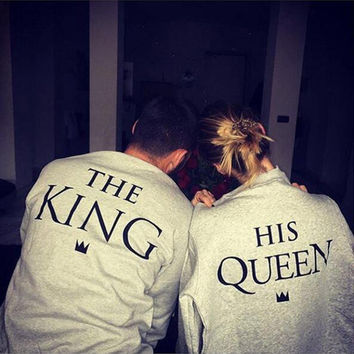Gray Women Men Couple King Queen Letter Print Pullovers Sweatshirt Hoodies