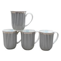 Grace Teaware Scallop 12-Ounce Porcelain Coffee Mug Set of 4 (Navy Stripes Toile Gold Trim)