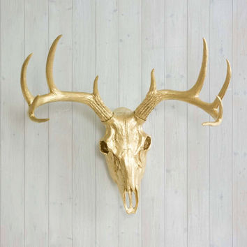The Large Gold Faux Taxidermy Resin Deer Head Skull Wall Mount | Gold Deer Head w/ Colored Antlers