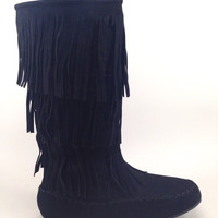 Suede Black Fringe Boot for Women