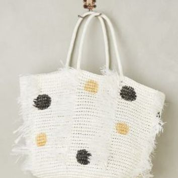 Sensi Studios Dotted Seaside Tote in Neutral Size: One Size Bags