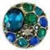 Ginger Snaps Vintage Brooch - Greens/Blues Snap
