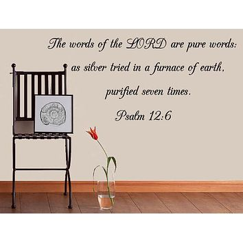 Psalm 12:6 Bible Verse Wall Decal, Bible Wall Art, Decals for Walls, Wall Stickers