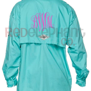 Monogrammed Fishing Shirt Ladies, Monogram Fishing Shirt Women, Monogrammed Preppy Shirt, Personalized Fishing Shirt, Bridesmaid Gift