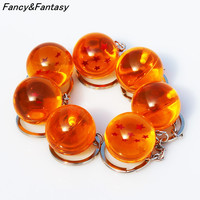 Fancy&Fantasy Anime Goku Dragon Ball Super  Keychain 3D 1-7 Stars Cosplay Crystal Ball Key chain Collection Toy Gift key Ring