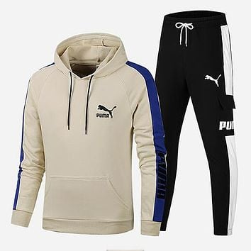 PUMA 2018 winter new men's casual wear thick warm hooded sweater two-piece Khaki