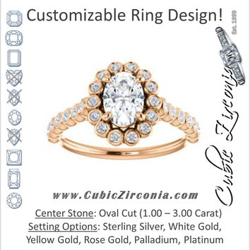 Cubic Zirconia Engagement Ring- The Maritere (Customizable Oval Cut)