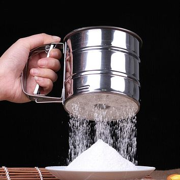 Stainless Steel Mesh Flour Sifter Sieve Strainer Cup Cake Baking Kitchen Tool HOT