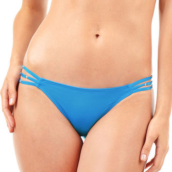 Voda Swim Three String Bikini Bottom in Cerulean