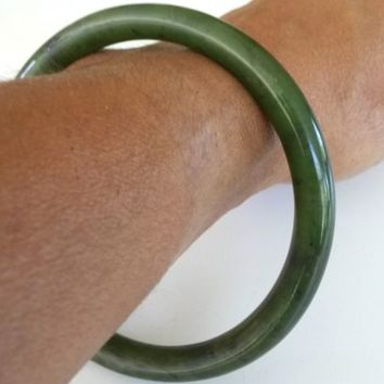 Vintage Nephrite Jade Tube Bangle Bracelet Green 39.2(gr)
