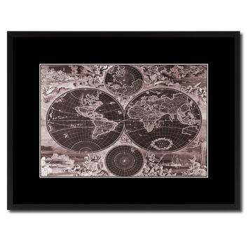 World Hemispheres Vintage Vivid Sepia Map Canvas Print, Picture Frames Home Decor Wall Art Decoration Gifts