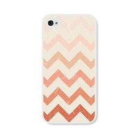 Cream and Peach Chevron iPhone 4 Case - Pink iPhone 4 Skin - Ombre iPhone 4 Cover - Coral Cell Phone Case