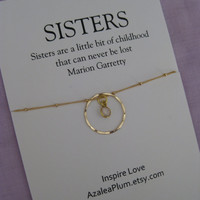Two S I S T E R S Necklace. GOLD Eternity Circle Necklace. 20th Birthday Sisters Gift. SISTERS  30th Birthday Gift. 40TH Birthday Sister