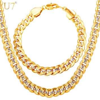 U7 Men Jewelry Set Two Tone Gold Color Hip Hop Trendy 9MM Chunky Big Cuban Link Chain Necklace And Bracelet Set S823