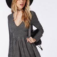 Missguided - Check Print Plunge Playsuit Black