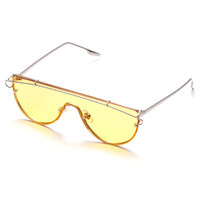 Silver Tone Yellow Lens Aviator Style Sunglasses
