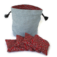 Bucket Bag Denim & Red Bandana with four matching Bean Bags Upcycled Blue Jeans - US Shipping Included