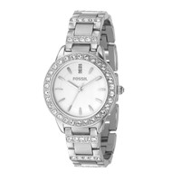 Fossil ES2362 Women's Jesse White Dial Swarovski Crystals Accents Stainless Steel Watch