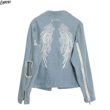 Blue Embroidery Wing Back Denim Jacket Coat Women Ripped Hollow Out Zipper Up Sleeve Autumn Light Wash Cotton Outwear