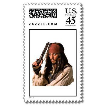Pirates of the Caribbean Jack Sparrow with Gun Postage from Zazzle.com
