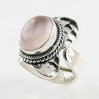 Rose Quartz Sterling Silver Two Tone Adjustable Wrap Ring