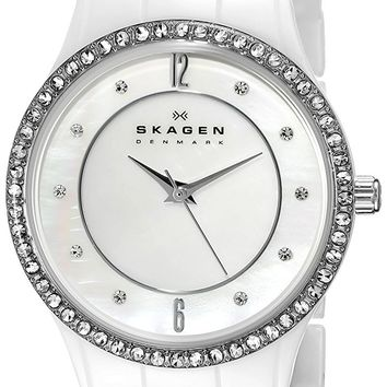 Skagen Womens 347SSXWC White Ceramic Glitz Watch