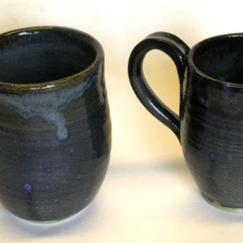 Pair of large dark mugs, set, large, black, blue, stoneware, handmade, sky, coffee, beer, tea, juice, oven safe, dishwasher safe