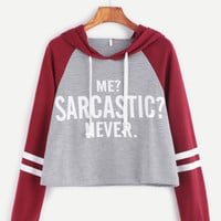 Contrast Raglan Sleeve Hooded Slogan Print Crop SweatshirtFor Women-romwe