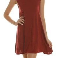 Solid Round Neck Sleeveless Tunic Asymmetrical Hem Pleated Mini Dress