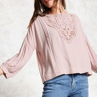 Pintucked Crochet Top